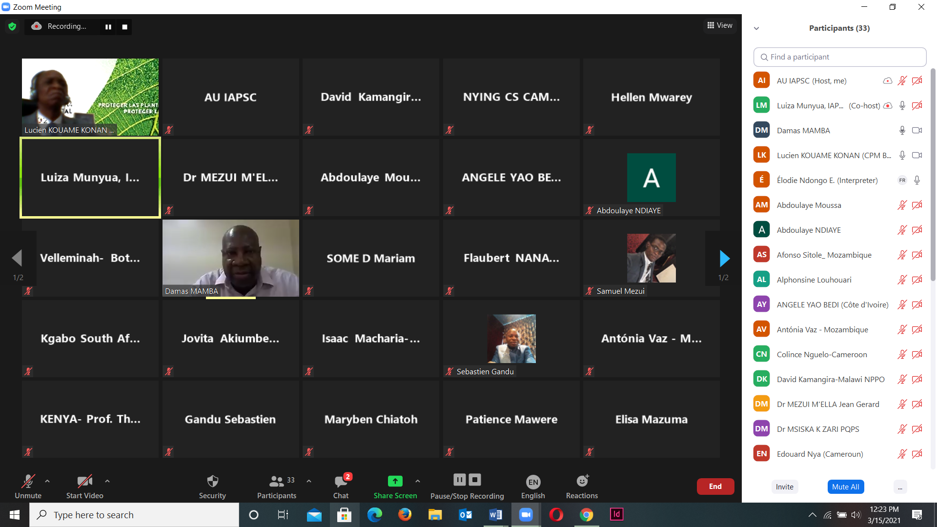 Virtual meeting for the harmonization of actions in the field of plant protection